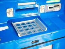 ATM machine. Blue ATM machine close up Royalty Free Stock Photos