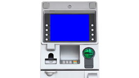 ATM Machine Blue Screen Display (zoom in) stock video footage