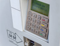 ATM machine button Password protected Stock Images