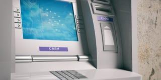 ATM machine closeup. 3d illustration. Metal ATM machine close up. 3d illustration Royalty Free Stock Image