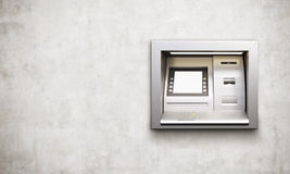 ATM machine concrete background. Built-in ATM machine with blank display on concrete background. Mock up, 3D Rendering Stock Photos