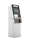 ATM machine. 3d rendering. ATM machine  on white background. 3d rendering Royalty Free Stock Images