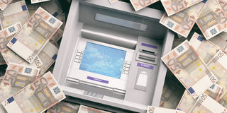 ATM machine on euro banknotes background. 3d illustration. Euro banknotes and ATM machine close up. 3d illustration Stock Photo