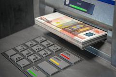 ATM machine and euro. Withdrawing  50 euro banknotes. Banking concept royalty free illustration