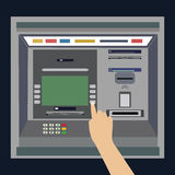 ATM machine with hand, payment and withdrawing money from credit card. Stock Photos