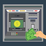 ATM machine with hand, payment and withdrawing money from credit card Royalty Free Stock Photos
