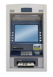 Atm machine. Isolated with 100 dollars bill Stock Image
