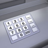 ATM machine keyboard. Close up of an ATM machine. Keyboard detail Royalty Free Stock Photos