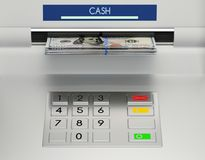 Atm machine keypad. With 100 dollar banknotes in the money slot. Password security, online payment, cash withdrawal deposit, transfer funds, giving money Stock Photos