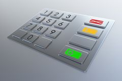 Atm machine keypad. Numbers buttons with additional red, yellow and green. Pin code safety, banking, electronic cash withdrawal, bank account access concept Stock Image