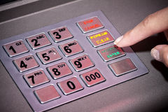 ATM machine keypad numbers, entering Pin code. ATM machine keypad numbers. Entering atm cash machine pin code Stock Photos