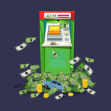ATM Machine with a lot of money. rich concept -  Royalty Free Stock Photo