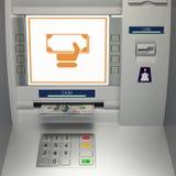 ATM-machine met bankbiljetten in de geldgroef Royalty-vrije Stock Afbeeldingen