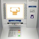 ATM-machine met bankbiljetten in de geldgroef Royalty-vrije Stock Foto's