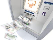 ATM-machine met geldbankbiljetten die uit vliegen Royalty-vrije Stock Fotografie