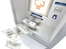 ATM machine with money banknotes flying out vector illustration