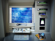 ATM machine, money cash and credit cards. Withdrawing dollar ban. Knotes. 3d illustration Royalty Free Stock Image