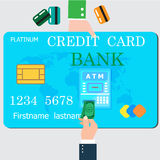ATM machine money deposit and credit card. Payment using credit card. Royalty Free Stock Photo