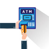 ATM machine money deposit and withdrawal. Payment using credit card. Royalty Free Stock Photo