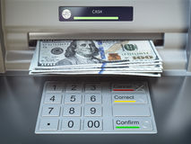 ATM machine and money. Withdrawing dollar banknotes. 3d illustration Royalty Free Stock Images