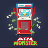 ATM Machine monster character design -. Illustration Royalty Free Stock Photos