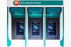 ATM machine. New self servise ATM banking machine on white background Royalty Free Stock Images