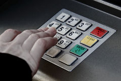 ATM machine pin buttons security Royalty Free Stock Photos