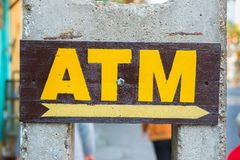ATM machine sign hand painted Royalty Free Stock Photo