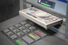 ATM machine and yen. Withdrawing  100 yen banknotes. Banking concept vector illustration