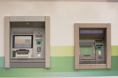 ATM machines. Two automated ATM banking machines Stock Photos