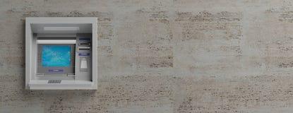 ATM-Maschine auf Stein deckt Hintergrund mit Ziegeln Abbildung 3D Stockfoto