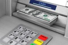 ATM-Maschine, die Dollar-Banknoten zurücknimmt Wiedergabe 3d stock abbildung