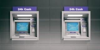ATM-Maschinen auf Metall deckt Hintergrund mit Ziegeln Abbildung 3D Stockfotos