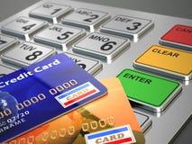 ATM maszynowa klawiatura z kredytowymi kartami. Zdjęcia Stock