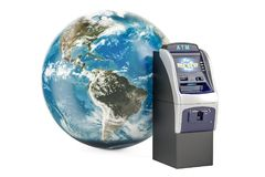 ATM mit Erdkugel, globales Bankwesenservicekonzept 3d Stockfotos