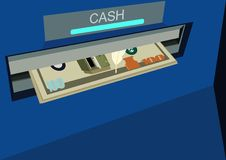 ATM with money Royalty Free Stock Photography