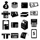 Atm money icons set. Atm card money  icons set in black Stock Image