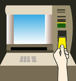Atm money withdraw. Hand background illustration Stock Photography