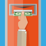 ATM, Money withdrawal. Cartoon hand take money cash from ATM slot. vector illustration in flat design on blue background royalty free illustration