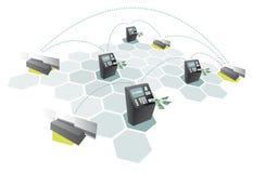 Atm-nätverk och förbinda för kreditkortar/Consumerism vektor illustrationer