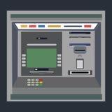 ATM płatnicza wektorowa ilustracja Wycofywać pieniądze od karcianego pojęcia Zapłata używać kredytową kartę ATM terminal użycie Obraz Stock
