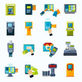 Atm payment flat icons set. Automated payment machine flat icons set with bank credit card money withdrawal system abstract isolated vector illustration Royalty Free Stock Photography