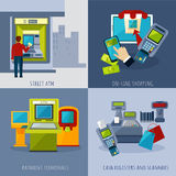 Atm Payment Set. Atm design concept set with payment systems cartoon icons isolated vector illustration Stock Image