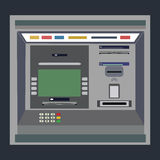 ATM payment vector illustration.Withdrawing money from card concept. Payment using credit card. ATM terminal usage. Stock Image