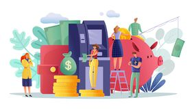 ATM payments people horizontal poster royalty free illustration