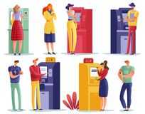 ATM payments people set royalty free illustration