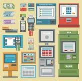 ATM pieniądze terminal ręki kredytowej karty wektorowe ikony Płatniczej przeniesienia atm wiszącej ozdoby usługa automatyczny ter Zdjęcie Royalty Free