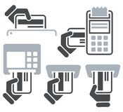 ATM, POS-Terminal And Hand Credit Card Icons Stock Photography