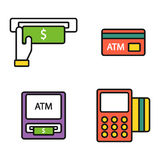 ATM pos-terminal with hand credit card icons payment transfer mobile service and automatic terminal money currency cash Royalty Free Stock Images
