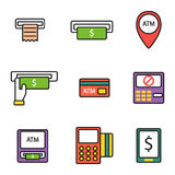 ATM pos-terminal with hand credit card icons payment transfer mobile service and automatic terminal money currency cash Stock Images